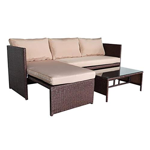 3 Pieces Patio Furniture Set PE Gray Rattan Wicker Sectional Outdoor Sofa Set Outside Couch Washable Seat Cushions & Tempered Glass Table