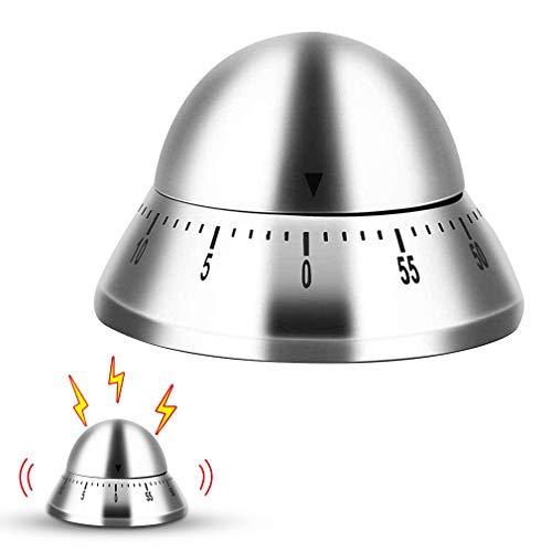 minghaoyuan Temporizador de Cocina Manual de Acero Inoxidable,Temporizador Mecánico Cuenta Atrás 60 Minutos, Temporizador Análogo de Cocina para Estudio Oficina Dormitorio Sala Cocin (Cono)