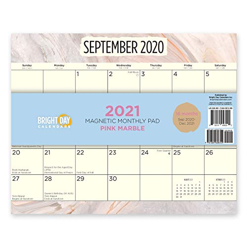 2021 Magnetic Refrigerator Calendar Wall Calendar Pad by Bright Day, 16 Month 8 x 10 Inch… (Lemons)