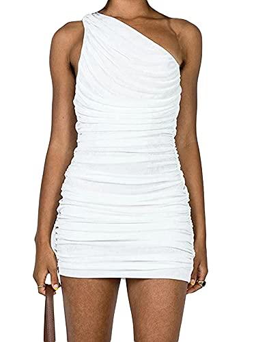 ZhaZhaMeng Vestido ajustado sexy de un solo hombro para mujer, vestidos plisados sin mangas de una sola pieza