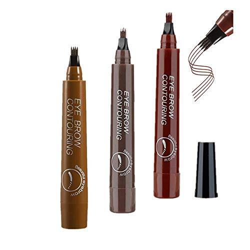 Tattoo Augenbrauenstift, 3 Farben Eyebrow Tattoo Pen, Eyebrow Pencil mit Fork-Tipp, Wasserdicht Langenhaltend für Natürlich Augenbrauen Schminke, 3Pcs