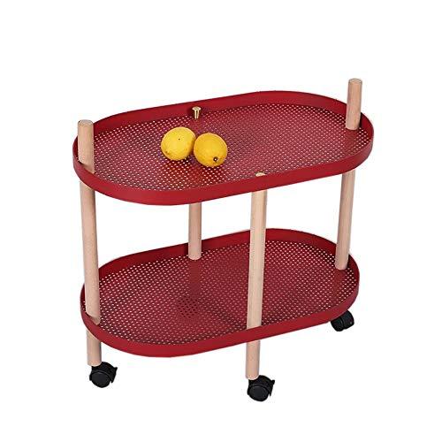 JCNFA verrijdbare wagen, ovaal bureau massief houten poten 2-laags boekenkastje, nachtkastje, voor badkamer, kantoor 23.22 * 13.38 * 22.83in rood