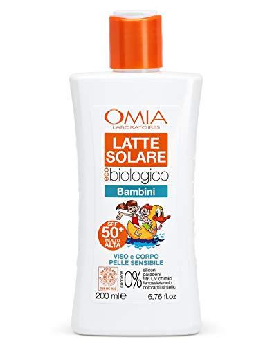 Omia Latte Solare Eco Bio Bambini SPF 50+ Viso e Corpo, Protezione Solare Bambini Alta per Pelli Delicate e Sensibili, con Olio di Mandorle e Olio di Sesamo, Dermatologicamente Testato, 200 ml