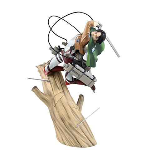 BINGFENG Angriff auf Titan Anime Figur Levi · Ackerman Trunk Stehende Haltung Kampf Statue PVC Puppe Modell Kinderspielzeug Geschenk 25CM