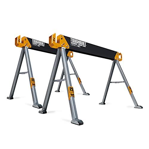 ToughBuilt - Folding Sawhorse/Jobsite Table - Sturdy, Durable, Lightweight, Heavy-Duty, 100% High Grade Steel, 41.5-Inch Easy Carry Handle - (TB-C550)