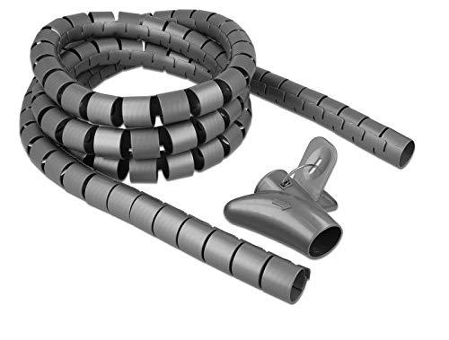 DeLOCK Spiralschlauch mit Einziehwerkzeug 2,5 m x 30 mm Kabelschlauch, grau