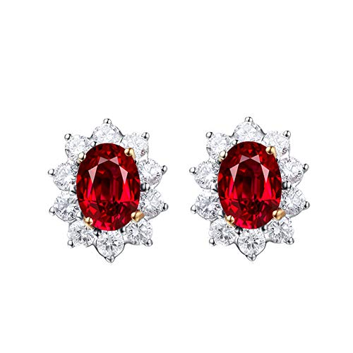 YCGEMS Genuine 18K White Gold Oval Natural Red Ruby Diamond Stud Earrings 2.165 cttw