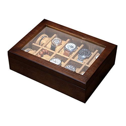 N/B Massivholz Uhr Box Organizer Armbanduhr Gehäuse mit Glas Display Top 10 Slot Great Gift Choice Uhr