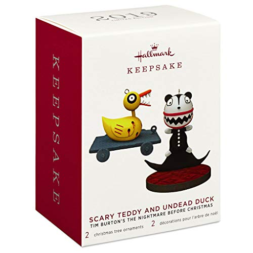 Hallmark Tim Burtons The Nightmare Before Christmas Scary Teddy and Undead Duck Ornaments, Set of 2 Movies & TV