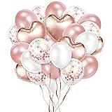 Crislove Globos de Oro Rosa de 48 Piezas, Globos de Papel Aluminio Globo de Látex Globos de Confeti y 2 Extra Cinta de Oro, para Fiestas Cumpleaños y Decoraciones de Bodas