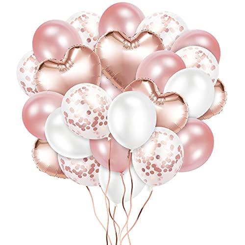 Crislove Rosegold Luftballon Set, 48 Stück Folienballon Set, Konfetti Luftballons & Latex Ballons mit Bändern für Geburtstag, Hochzeit, Babyparty, Dekoration, Geschäftstätigkeit (Rosegold)
