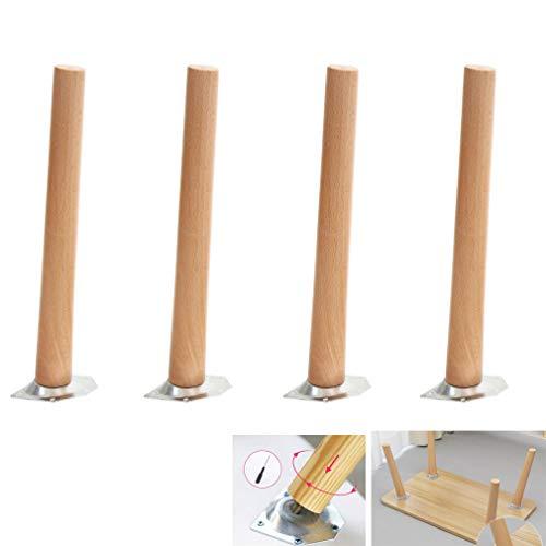 4er Set Hölzern Möbelfüße,Tischbeine,Buche Couchtisch Beine,Sofa Ersatzbeine,Verjüngt Lackfarbe,mit Montageplatte und Schrauben (65cm/25.59in)
