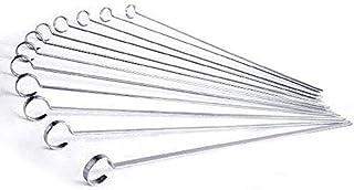 "Sohapy 12"" Food Grade Flat Stainless Steel Grilling Skewers,BBQ Skewers,Shish Kabob Sticks - Set of 12"