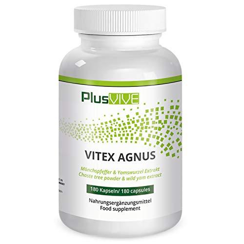 Plusvive - Vitex agnus avec extrait d'igname sauvage, 180gélules, (250mg)