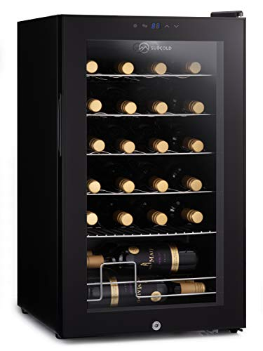Subcold Viva24 LED – Under Counter Wine Fridge Black | 3-18°C | Wine Cooler | LED + Lock & Key | Glass Door Drinks Cellar | Single-Zone (24 Bottle)