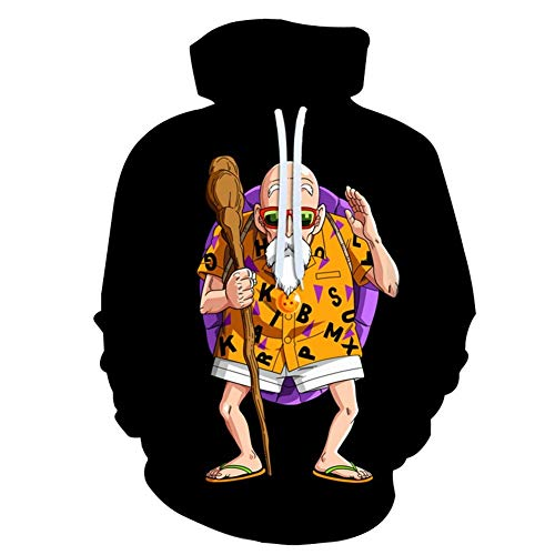 Dragon Ball Z Pullover Master Roshi Black Hoodie Cartoon Hood Sweater 3D Printing Hip-hop Street Clothing Spring Outdoor Travel Clothing (Size : XL)