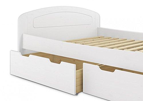Erst-Holz® Funktionsbett 160x200 Doppelbett 3 Staukästen Rollrost Seniorenbett Massivholz Weiß 60.50-16 W