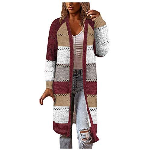 Comfy Sweater Women's Long Stylish Stitching Tunics Long Sleeve Cardigan Coat Casual Blouse
