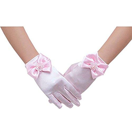 Tinksky Guantes de niña de las flores Bowknot encaje corto guantes de princesa para fiesta de boda (rosa)