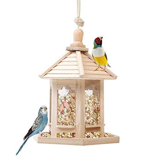 Wild Bird Feed Dispenser, Houten Bird Feeder, Vogel Huis Met Dak Home Garden Yard Decoration Zeshoekige Vorm, Grote Capaciteit 1000ML