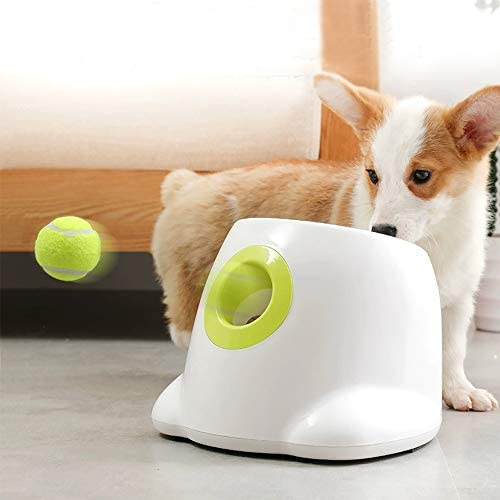 AFP Automatic Dog Ball Launcher Interactive Puppy Pet Ball Indoor Thrower Machine for Small and Medium Size Dogs, 3 Balls Included (2 inch)