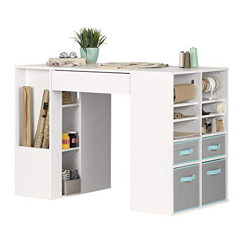 South Shore Crea Counter-Height Craft Table with Scratchproof Surface and Interchangeable Modules - 4 baskets included, Pure White