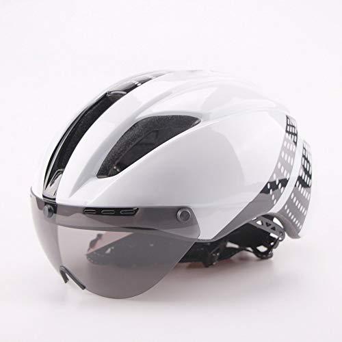 JHHXW Casco de Ciclismo, Lente de Plata magnética Desmontable, Casco Ultraligero y Bicicleta de montaña (Color : Black White, Size : L(58-62CM))
