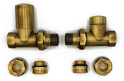 Rechte versie met koperen (Cu) connectoren Elegante antieke messing reguleren + Lockshield ventiel Radiator Set