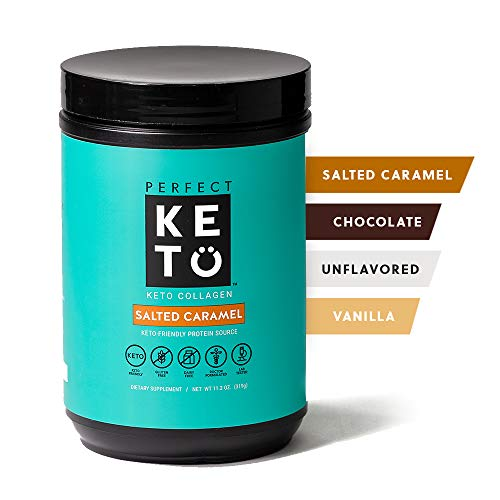 Perfect Keto Collagen Peptides Protein Powder with MCT Oil - Grassfed, GF, Multi Supplement, Best for Ketogenic Diets, Use in Coffee, Shakes for Women & Men – Salted Caramel
