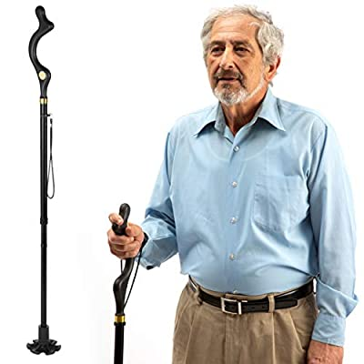 walking cane for men and walking canes for women special balancing - cane walking stick have 10 Adjustable Heights - self standing folding cane, portable collapsible cane, Comfortable by Medical King