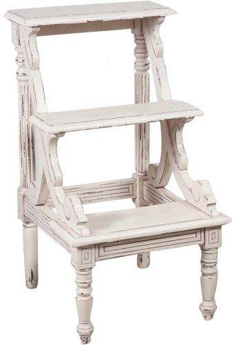 Arterameeferro Leiter aus Mahagoniholz, weiß, für Bücherregal, Bibliothek, Regal