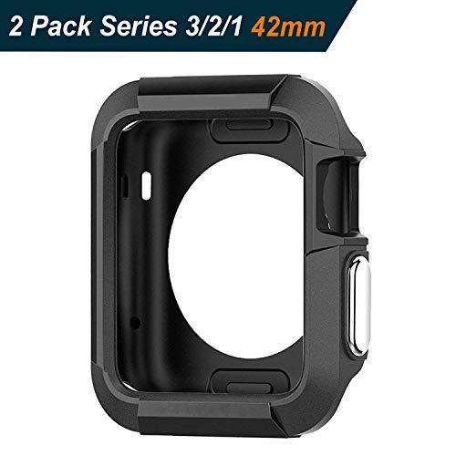 ivoler 2 Pezzi Custodia Cover Compatibile con Apple Watch 42mm Series 1 / Series 2 / Series 3, Design Meccanica Durevole/Massima Protezione da Cadute e Urti - Nero