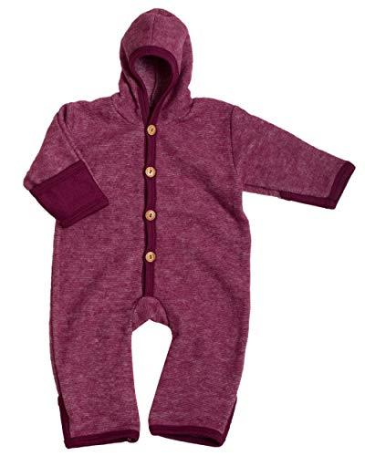 Cosilana, NEU Baby Fleece Overall mit Umschlag, 60% Schurwolle (kbT), 40% Baumwolle (KBA) (62/68, Weinrot Melange)