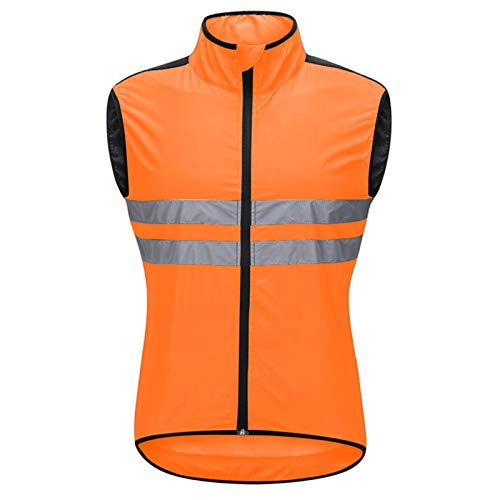 Pateacd Deportes Chaleco de Bici para Hombre Reflectante Windstopper, Transpirable Impermeable Sin Mangas Chaqueta de Ciclismo Running Vest,Naranja,M