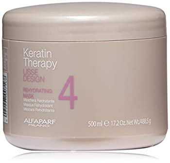 Alfaparf Milano Keratin Therapy Lisse Design Rehydrating Mask - Maintain and Enhance Keratin Treatment - Moisturize and Limit Natural Drying - Professional Salon Quality - 17.2 oz