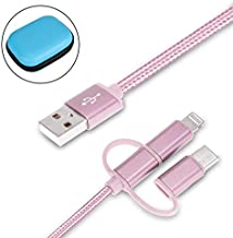 Cdyiswu Multi Charging Cable, 3 in 1 Premium Nylon Braided Multiple USB Cable Fast Charging Cord Support Data Transfer Compatible Mobile Phones Tablets and More (3.3ft) (Pink)