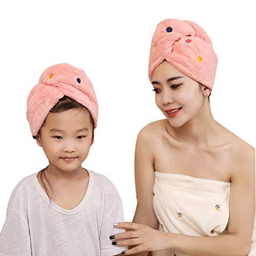 WFF sombrero Bañera de secado rápido Secado del cabello Turbante, 2 pack adulto + niño, súper absorbente de pelo seco rápido para el cabello largo, toallitas de ducha suave para mujer torcida punto so
