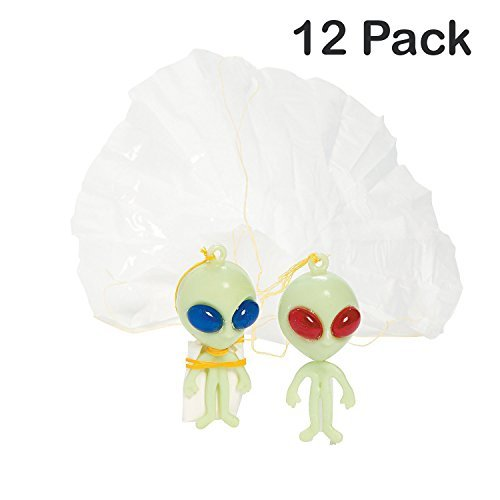 Pack Of 12 Alien Paratroopers Plastic 2.5 Inches 2 Colors Eyes, Red And Blue - Stringed Paratroopers Assortment Action Figures - For Kids Great Party Favors, Fun, Toy, Gift, Prize - By Kidsco