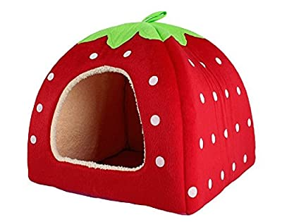 Lovely Strawberry Soft Cashmere Warm Pet Nest Dog Cat Bed Foldable Red by RuiChy