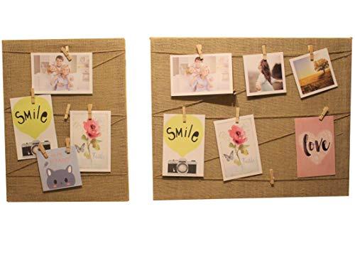 Euro Tische Bilderrahmen mit Klammern und Leine - DIY Fotorahmen Collage zum Bilder aufhängen - Fotowand in Zwei verschiedenen Größen (30x40 cm)