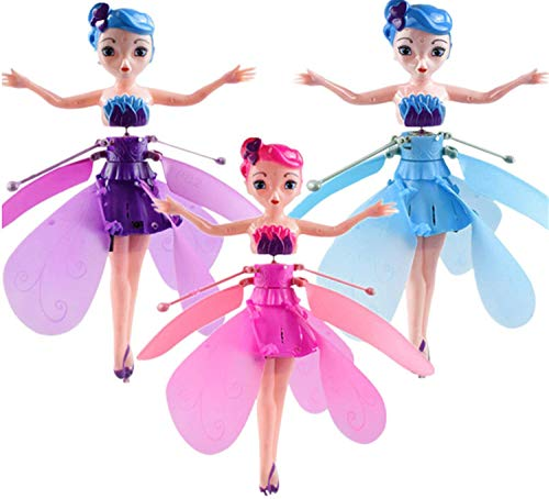 Crystal Flyers Magical Flying Pixie Toy - Flying Princess Doll Flying Fairy Toys - Flying Fairy Doll - Infrared Sensor Control Remote Control Child Toy The Best Gift For Kids (Purple&Pink&Blue)