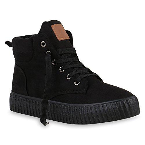 stiefelparadies Gefütterte Damen Sneakers High Winter Profilsohle Schuhe 122549 Schwarz 37 Flandell