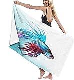 Toalla de baño de 130x80 cm,pez Betta Luchador siamés Nadando en un mar Agresivo de Acuario,sábana de Manta de baño de fácil Cuidado para Vacaciones en la Playa