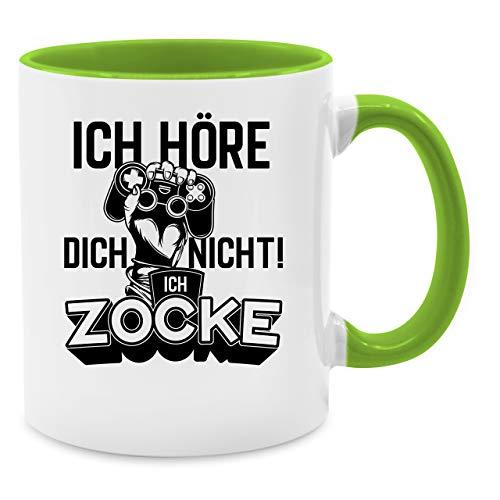 Shirtracer Tasse Hobby - Ich höre Dich Nicht ich zocke Controller Hand Schwarz - Unisize - Hellgrün - Tasse ich höre Nichts ich zocke - Q9061 - Kaffee-Tasse inkl. Geschenk-Verpackung