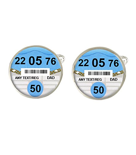 Personalised Car Tax Disc Any Name, Age & Date Of Birth Mens Cufflinks Ideal Birthday Gift C334
