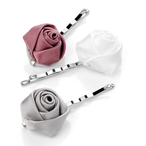 HA23288 3 Piece Rose Flower Hair Pin Clip Pink White Silver Wedding Party Prom by Amberjewellery