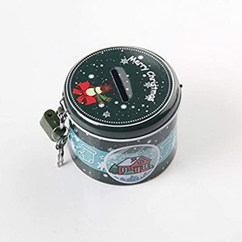 GPWDSN Caja de Almacenamiento de Monedas Linda alcancía Redonda con Llave de Bloqueo de Metal Caja de Almacenamiento de Dibujos Animados Regalo de cumpleaños (B)