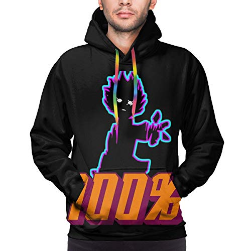 BYYKK Herren Kapuzenpullover, Mob Psycho 100 Men's Hoodie Printed Sweatshirt Men's Pullover Big Pockets Hooded Hoodies Black