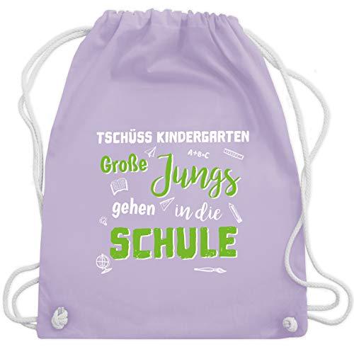 Shirtracer Einschulung und Schulanfang - Tschüss Kindergarten Große Jungs hellgrün - Unisize - Pastell Lila - Geschenk - WM110 - Turnbeutel und Stoffbeutel aus Baumwolle