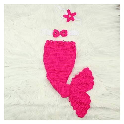 Meerjungfrauenschwanz-Decke für Kinder, Meerjungfrauenschwanz, gestrickt, gehäkelt, Schlafsack + BH + Kopfband, Fotografie-Requisite, unverzichtbar, um zu Hause warm zu halten (Farbe: Rosarot)